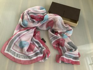 Louis Vuitton Shoulder Scarf pink-silver-colored silk