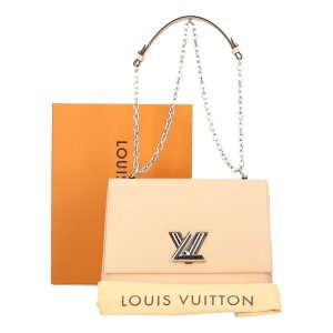 Louis Vuitton Sac à main beige clair-argenté cuir