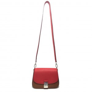 Louis Vuitton Vivienne S-Lock Handtasche Umhängetasche Tasche Leder Rot Braun