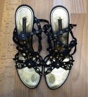 Louis Vuitton Wedges Heels Pumps Gr. 39/39,5 Leder schwarz Nieten Schuhe