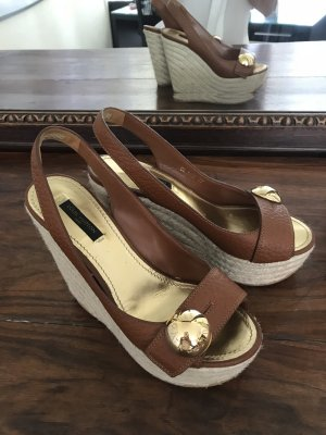 Louis Vuitton Wedges Keilabsatz Schuhe Sandalen Sommerschuhe 37 Braun Gold