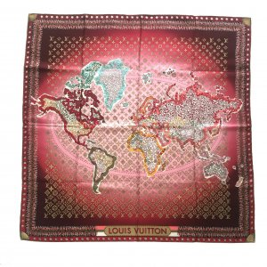 LOUIS VUITTON WORLD MAP CARRÉE TUCH AUS SEIDE IN ROT