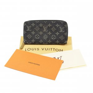 Louis Vuitton Cartera azul oscuro-gris pizarra tejido mezclado