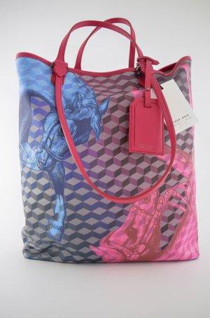 LOUP NOIR Tasche Mod.TOTE BAG Col.Cheval Blue/Pink Leder Blau Pink Lila Neu