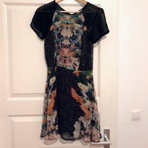 LOVE - Kleid, Schwarz mit Muster, Kaleidoskop, Größe 38