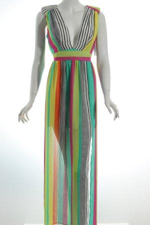 Love Maxikleid Streifenmuster Beach Strand Kleid Streifen Neon Chiffon