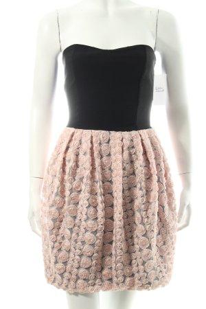 Love Minikleid schwarz-hellrosa Blumenmuster Party-Look
