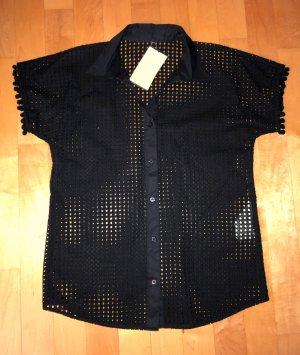 Love Moschino Bluse Hemd Lochstickerei Schwarz 40 Neu