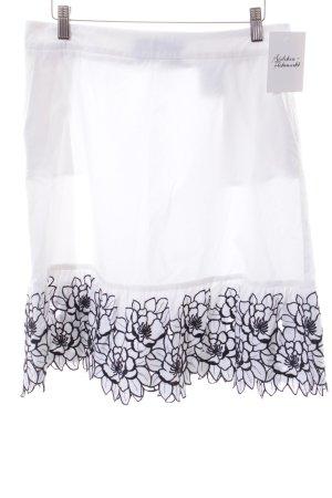 Love Moschino Faltenrock weiß-schwarz florales Muster Romantik-Look