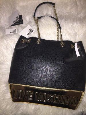 Love Moschino Handtasche Leder Tasche Beuteltasche NEU Etikett schwarz gold