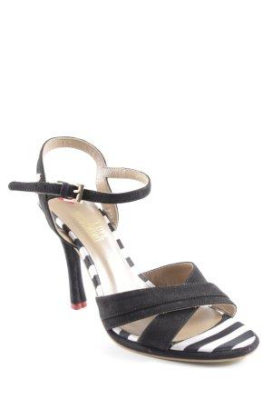 Love Moschino High Heel Sandaletten weiß-schwarz Streifenmuster Casual-Look