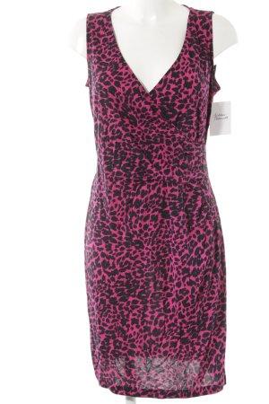 Love Moschino Vestido de tela de jersey negro-rosa estampado de leopardo