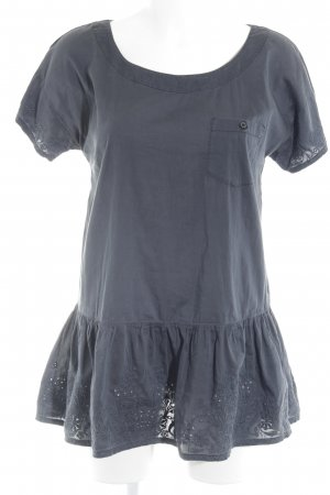 Love Moschino Kurzarm-Bluse anthrazit florales Muster Zierlochung