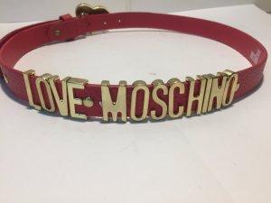 Love Moschino Lederen riem goud-roze Leer