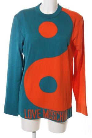 Love Moschino Longpullover blau-hellorange Casual-Look