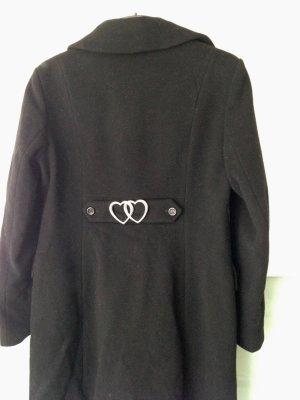 Love Moschino Mantel Gr 40 schwarz Schurwollegemisch mit Kaschmir