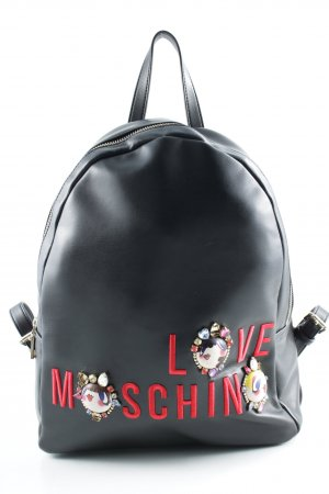 "Love Moschino Mochila para portátiles ""Embroidered Jewel Backpack Nappa PU Nero"""