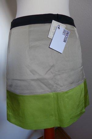 Love Moschino Rock Minirock Colorblocking schwarz beige grün Gr.34 NEU