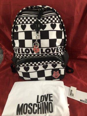 Love Moschino School Backpack white-black