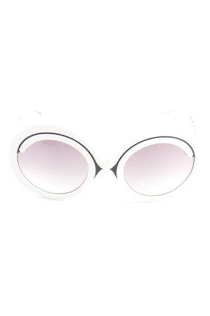 Love Moschino runde Sonnenbrille weiß-schwarz extravaganter Stil