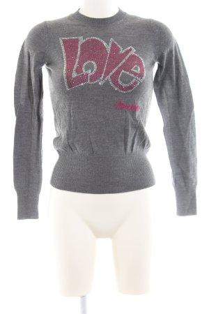 Love Moschino Rundhalspullover hellgrau-pink Schriftzug gedruckt Casual-Look