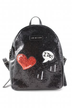 "Love Moschino Zaino per la scuola ""Backpack Glitters Metallic Patches Nero"""