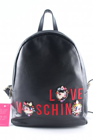 "Love Moschino Zaino per la scuola ""Embroidered Jewel Backpack Nappa PU Nero"""