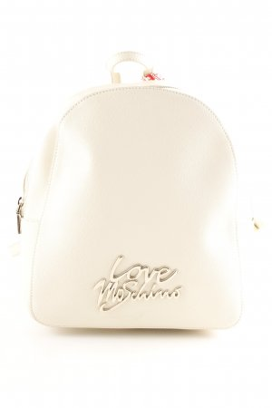 "Love Moschino Zaino per la scuola ""Smooth Saffiano Pu Logo Backpack Avorio"""