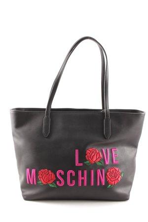 Love Moschino Shopper schwarz-pink Schriftzug gestickt Casual-Look