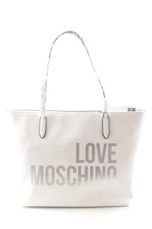 Love Moschino Shopper weiß-silberfarben Schriftzug gedruckt Casual-Look