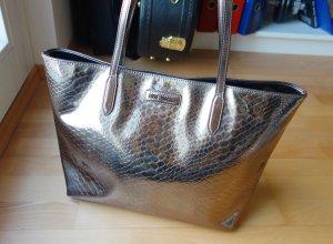 Love Moschino Snake Schlange Animalprint Tote Shopper Silber PVC Kunstleder