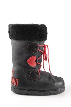 Love Moschino Stivale da neve nero-rosso stile casual