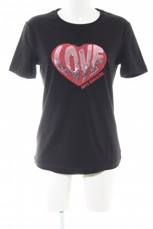 Love Moschino T-Shirt schwarz-rot Motivdruck Casual-Look