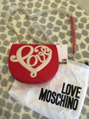 Love moschino Tasche clutch rot weiß Blogger Fashion neu Handtasche umhän