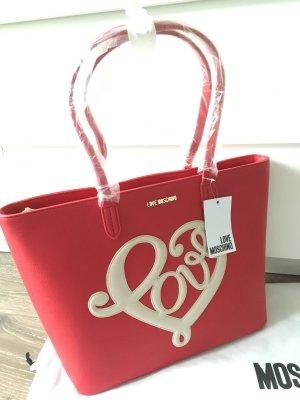 Love moschino Tasche shopper clutch neu rot weiß Designer Handtasche