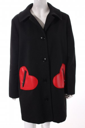 Love Moschino Übergangsmantel schwarz-rot Herzmuster Romantik-Look