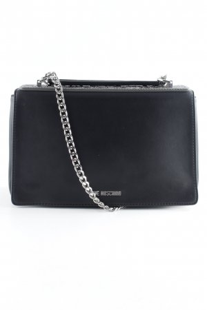 "Love Moschino Umhängetasche ""Borsa Calf Pu Nero + Tpu Double Chain Shoulder Bag Peltro"""