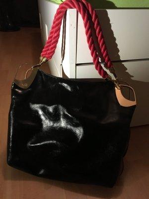 Love Moschino Vintage Tasche Shopper schwarz/rot Lackleder