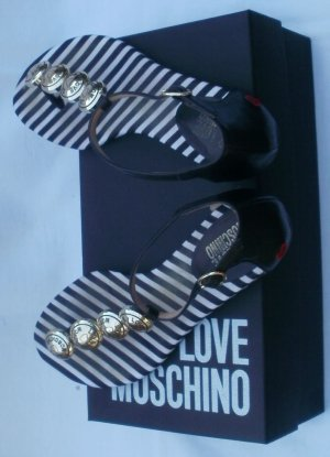 Love Moschino High-Heeled Toe-Post Sandals black-white leather