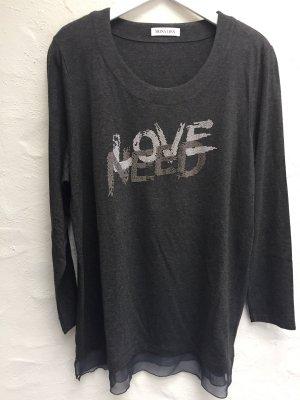 *LOVE* Print-Longshirt Gr. 46 dunkelgrau