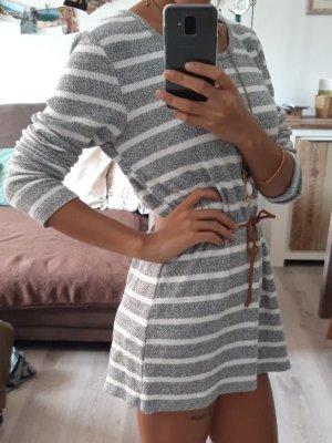 LT Pullover Grau-Weiß gestreift, Größe 36/38