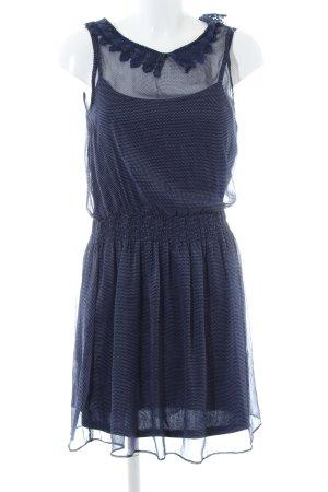 LTB A-Linien Kleid blau-weiß Punktemuster Casual-Look