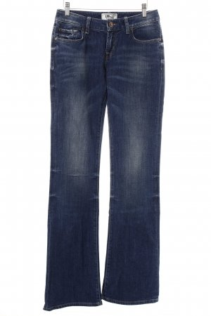 LTB Boot Cut Jeans dunkelblau-wollweiß Washed-Optik