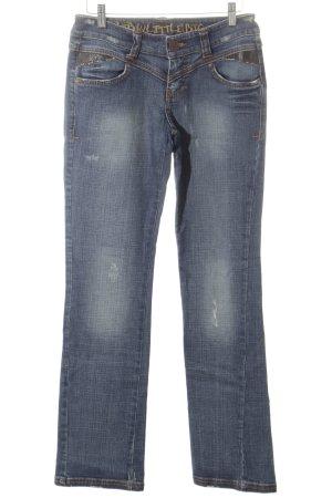 LTB by Littlebig Boot Cut Jeans blau-wollweiß Bleached-Optik