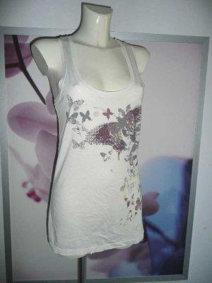 LTB Eyecatcher Blüien Print Tank Top Longshirt mit Strass + Schmetterlinge M