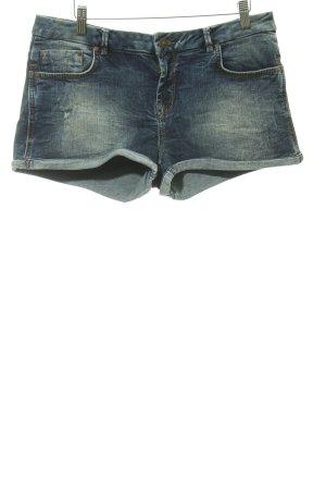 LTB Hot Pants graublau Logo-Applikation aus Leder