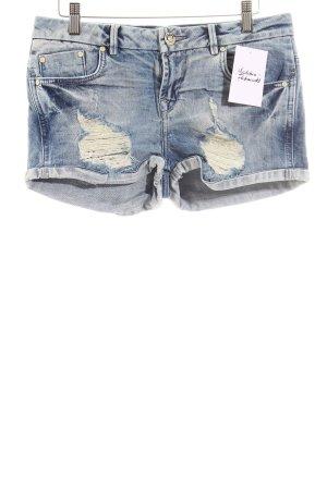 LTB Jeansshorts weiß-dunkelblau Used-Optik