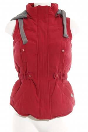 LTB Hooded Vest brick red-grey quilting pattern Logo application (metal)