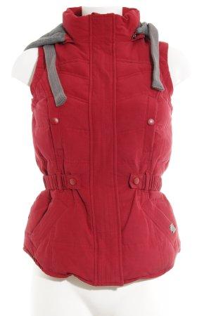 LTB Chaleco con capucha rojo ladrillo-gris estampado acolchado