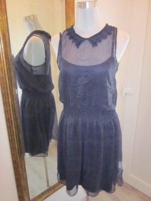LTB Kleid Dunkleblau Weiss gepunktet 50ties Gr M NEU